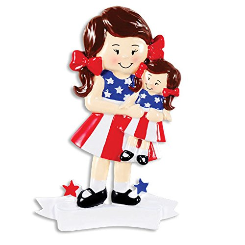 (American Girl Doll Brown Personalized Christmas Tree Ornament)
