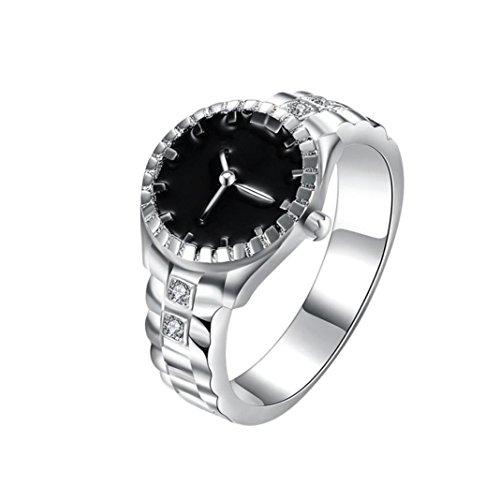 Bookear Women Mens Dial Quartz Analog Watch Creative Steel Cool Alloy Finger Ring Watch (7) from Bookear