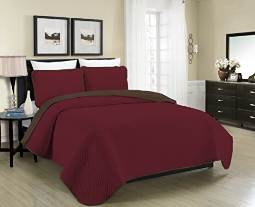 Blissful Living Reversible Luxury Pinsonic Quilt Set Including Shams – Lightweight and Soft for All Year Round Comfort, Available in Twin, Full / Queen and King Size (Burgundy/Brown, - With Burgundy Brown