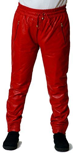 CD D C Men's Genuine Leather Sweat Pants/Joggers Relaxed