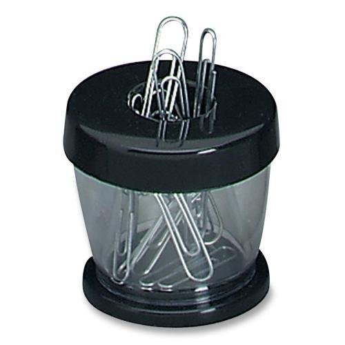 Gem Office Products Paper Clip Dispenser, Magnetic, Clear/Black (700B)