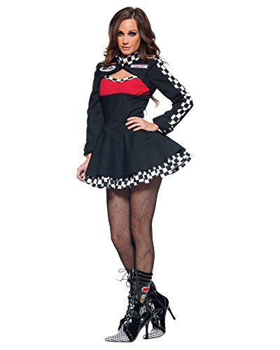 Womens Race Car Driver Costume Black Mini Dress Long Sleeve Sports Costumes Sizes: (Women's Sport Costume Ideas)