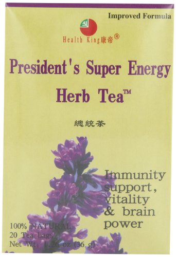 Health King  Presidnt Super Energy Herb Tea, Teabags, 20-Count Box (Pack of 4)