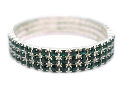 [Petite Womens Classic Silver 3 Row Hunter Green Rhinestone Stretch Tennis Cuff Bracelet] (Las Vegas Showgirl Costume)