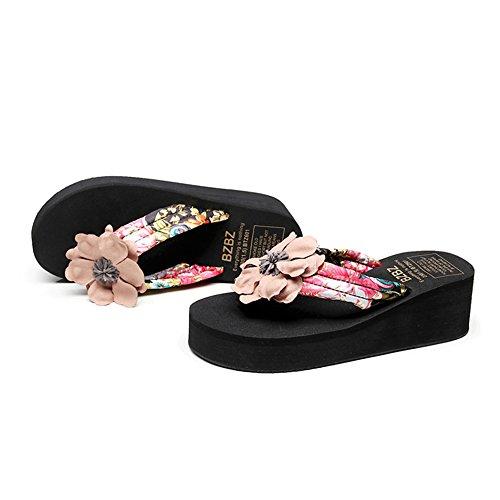 Sandals ZHIRONG Folk-custom Thick Bottom Non-slip Wedges Woman Summer Outer Wear Beach Shoes (Black aw24dpw3D3