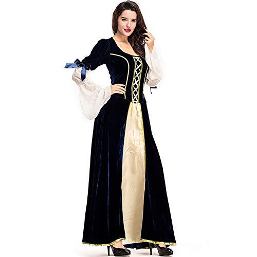 Konvinit Women's Medieval Dress Cosplay Deluxe Renaissance Costumes Dress Victorian Irish Over Long Dress Retro Gown (M)
