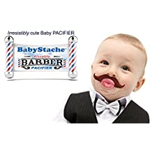 Funny Baby Pacifier Cute Kissable Mustache Pacifier For Babies and Toddlers Unisex - BPA Free Latex Free made With High Quality Silicone - Barber Brown By BabyStache