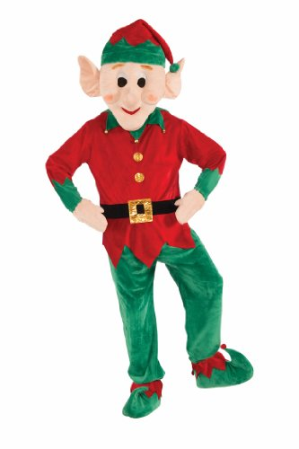 Forum Novelties Men's Plush Elf Mascot Costume, Multi Colored, One Size (Mascot Costumes)