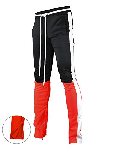 - SCREENSHOTBRAND-P41705 Mens Hip Hop Streetwear Premium Slim Fit Track Pants - Athletic Jogger Color Block Sportswear-BK/RD-Small