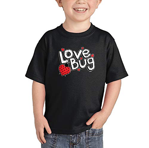 Love Bug - Ladybug Heart Pun Funny Infant/Toddler Cotton Jersey T-Shirt (Black, - Ladybug Love Heart Bug