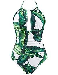 Women's One Piece Swimsuits Tummy Control Swimwear V Neck Bathing Suits