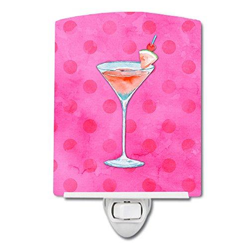 Caroline's Treasures Summer Martini Pink Polkadot Ceramic Night Light, 6 x 4