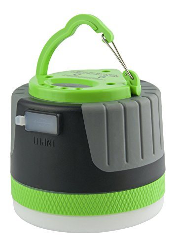 LIT-PaTH Rechargeable LED Camping Lighting Fixture Camping Lantern with Magnet Base and 4400 mAh Charger for Mobile, Survival Kit for Emergency, Hurricane, Outage (Large-Green)