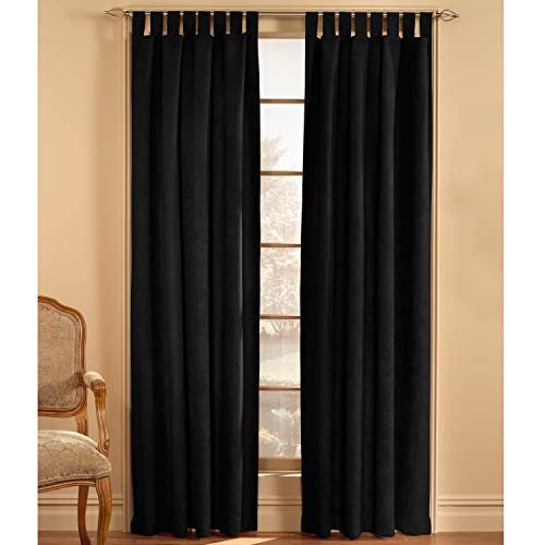 Suede Panel - CHF & You Ultra Suede Tab Top Window Curtain Panel, Black, 50-Inch X 84-Inch