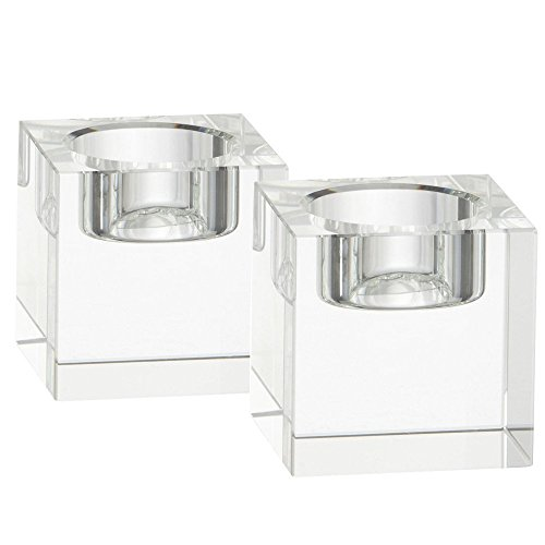 Amlong Crystal Tealight Holders (Square), Set of 2 - Square Crystal Tealight Holder
