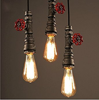 Injuicy Loft Vintage Industrial Retro Wrought Iron Water Pipe Steampunk Pendant Lights Shades Antique E27 Edison Metal Ceiling Lamps Fixtures for Balcony Stairs Cafe Bar Lighting in Rust (Antique Iron Pendant)