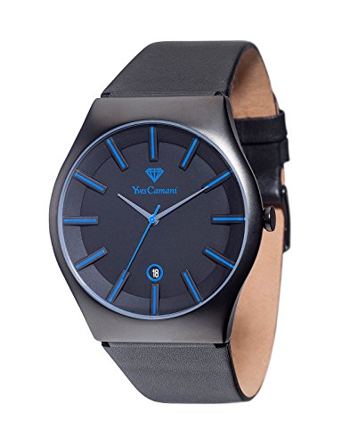 Yves Camani Men's Quartz Watch Loann Black Blue YC1068-H Stainless Steel Leather Strap