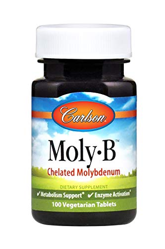 Carlson - Moly-B, Chelated Molybdenum, Metabolism Support, Enzyme Activation, 100 Vegetarian Tablets Chelated Molybdenum 100 Tabs