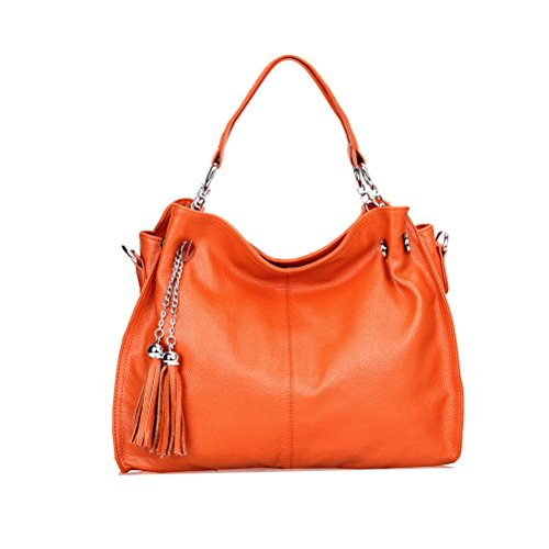 Donalworld Women Vintage Tassel Hobo Leather Handbag Orange