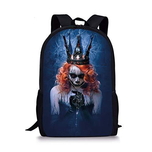 School Bags Queen,Queen of Death Scary Body Art Halloween Evil Face Bizarre Make Up Zombie,Navy Blue Orange Black for Boys&Girls Mens Sport Daypack -