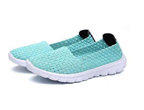 XIE Verano Señoras Plana Transpirable Tejidos a Mano Zapatos Deportivos Deslizamiento en los Zapatos Perezoso, 40 green
