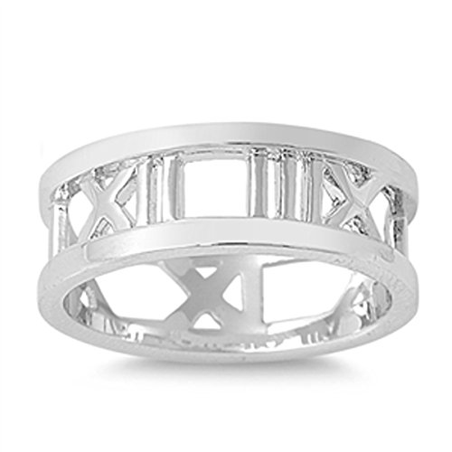 (Sterling Silver Women's Numbers Roman Numeral Ring (Sizes 4-12) (Ring Size 7))