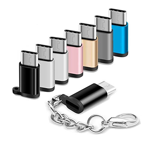USB Type C Adapter 8 Pack Micro USB Female to USB C Male Connector Android Charger Cable Converter with Keychain Fit Samsung Galaxy S10 S9 S8 Plus S9+ S8+ Note 10+ 10 9 8 LG V40 V30 V20 G7 G6 G5 Moto (Samsung Note 5 Vs Galaxy S8 Plus)