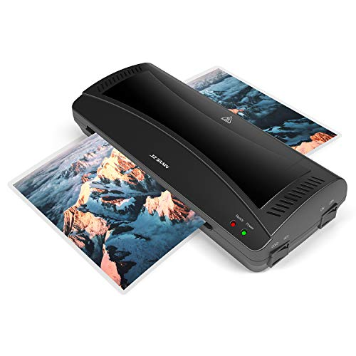 JZBRAIN Thermal Laminator Machine, Quick Warm-up, Compact Design Hot & Cold A4 Laminating Machine with ABS Button, 9'' Width Maximum (Black)