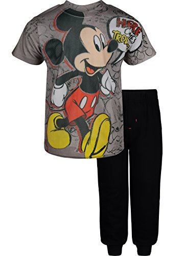 Disney Mickey Mouse Toddler Boys' Mesh T-Shirt & French Terry Pants Clothing Set, Grey (4T)