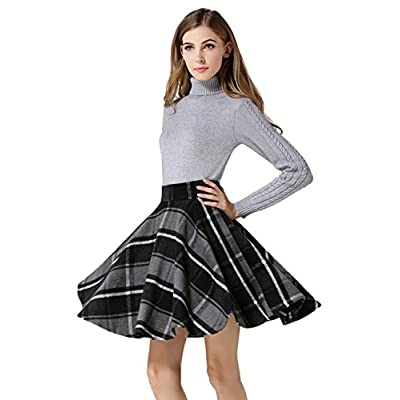 Tanming Women's Casual High Waisted Wool Check Print Plaid A-Line Skirt at Women's Clothing store