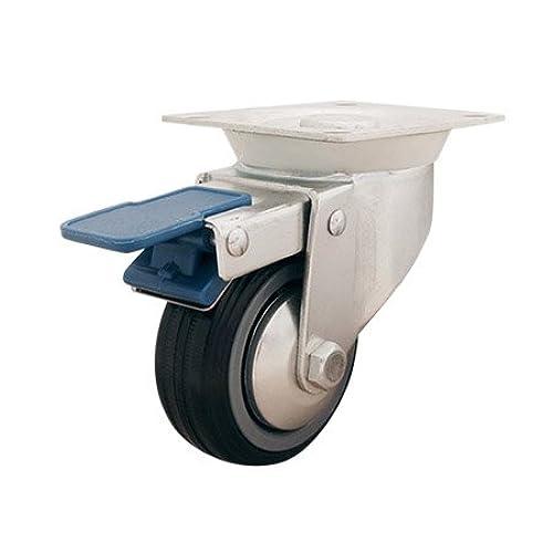 Shepherd #9287 - 4 Pack - 3 in. Semi-Elastic Rubber Wheel Swivel Caster with Total-Lock Brake