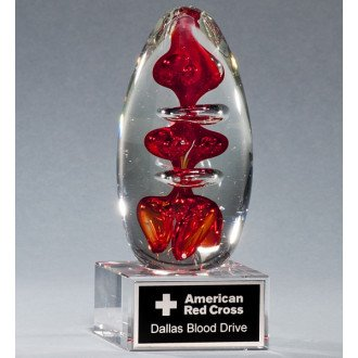 Blood Drop - Blood Drop Art Glass Award with Free Engraving (Customize Now!)