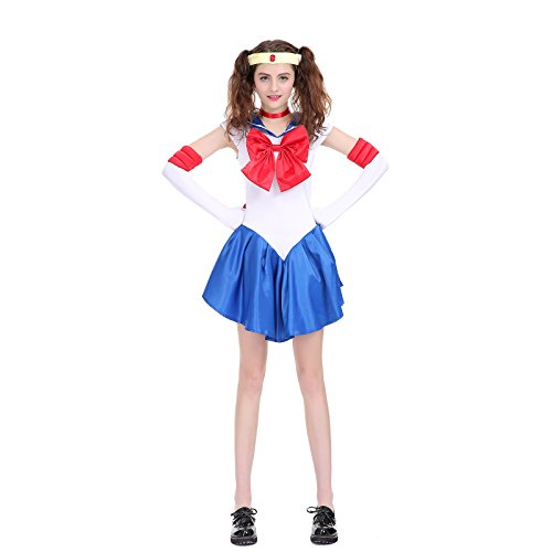 Sailor Moon Uranus Costume (Angelaicos Womens Color Block Bowknots Costume Dress (XL, Blue))