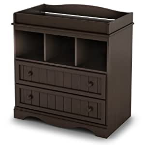 South Shore 2-Drawer Changing Table with Open Storage, Espresso, Chocolate