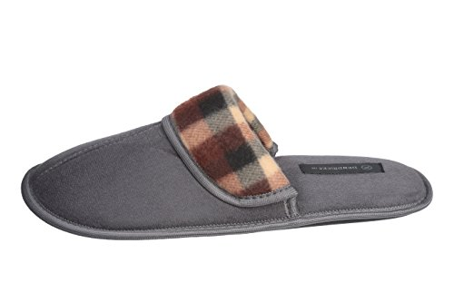 Roxoni Men's Faux Suede Scuff with Plaid Trim Slipper Classic Style with Ultra Soft Comfort Fabric by Roxoni (Image #1)