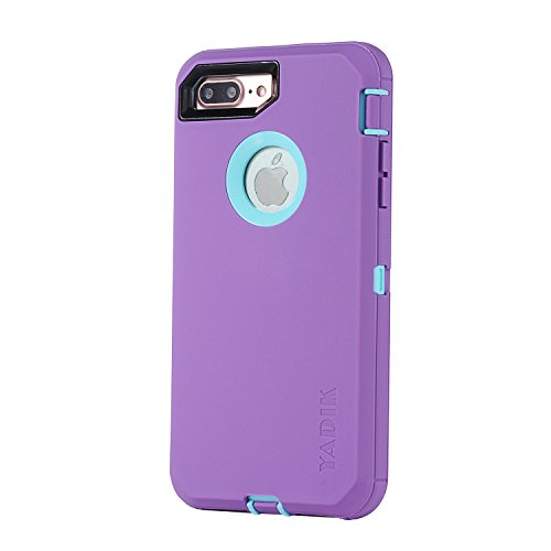 iPhone 7 Plus 5.5 inch Case, Yadik Shock Absorption Heavy Duty Military Grade Hybrid Silicone PC Case for iPhone 7 Plus (Purple Blue)