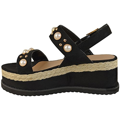 Moda Thirsty Mujeres Alpargata Flatforms Pearl Wedge Summer Sandals Zapatos Size Black Faux Suede