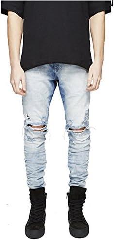メンズ デニム ジーンズ 破れジーンズ ゆったり ストレッチ ダメージ加工 膝破れ ジーンズ スキニー パンツ スリム 細身 おしゃれ