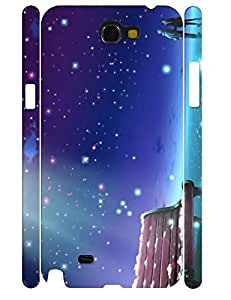 Cool Custom Kawaii Starry Night Hard Plastic Samsung Galaxy Note 2 N7100 Phone Cover Case