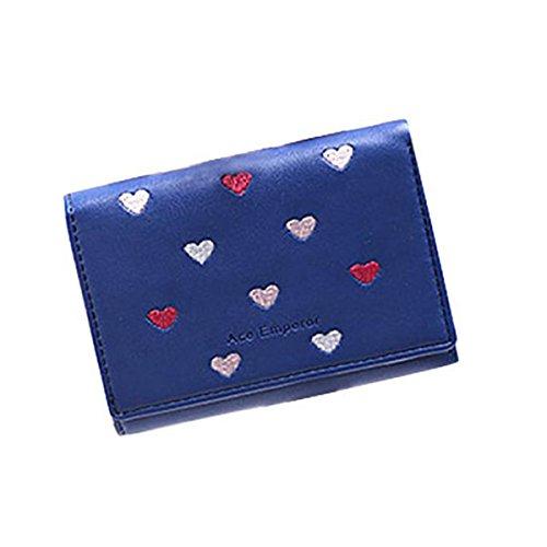 Women Bowknot Long Purse Button Wallet Clutch Hand Bag (Dark Blue) - 8