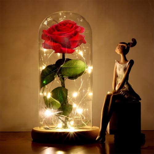 Beauty and the Beast Rose Enchanted Red Silk Rose