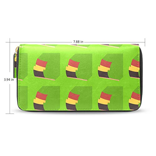 Women Belgian Flag On Greenbackground Leather Wallet Large Capacity Zipper Travel Wristlet Bags Clutch Cellphone Bag
