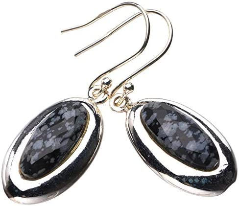 StarGems Pendientes de obsidiana natural hechos a mano de plata de ley 925 de 3,8 cm E2059