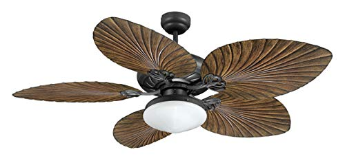 Brand New Model FJ World T52041- Stylish Tropical ceiling fan with 5 leaf shaped 2 colored blades, dome light and free remote