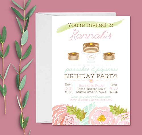 Pancakes and Pajamas Party Invitations with Envelopes - Sleepover Invitation - Set of 10 -