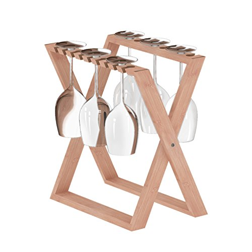 ISINO Bamboo Wine Glass Rack, Foldable Countertop Wine Stemware Drying Rack, Tabletop Glass Stand Organizer for 6 pcs Wine Glasses