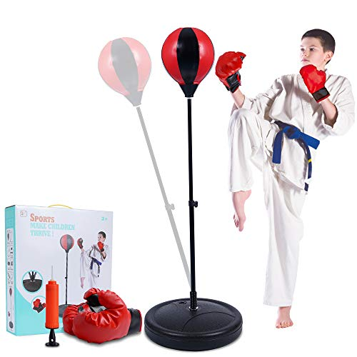 Punching Bag for Kids,Adjustable Height Boxing Bag with Stand and Boxing Gloves for Kids,Ideal Christmas Birthday…