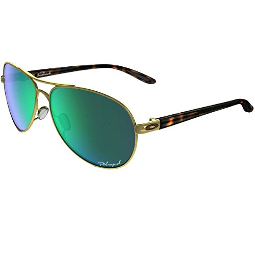 Oakley Women's Feedback Polarized Iridium Aviator Sunglasses, Polished Gold & Jade Iridium, 59 - Oakley Shades Women