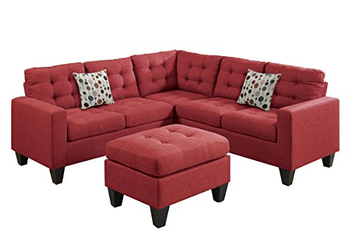 Poundex F6936 Bobkona Norton Linen-Like 4 Piece Sectional with Ottoman Set, Carmine