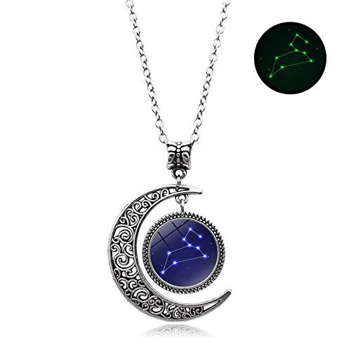New Edify Ltd Glow Necklace 1Pcs Glass Dome Cabochon Crescent Moon Pendant Silver Chain Necklace Color Leo ()